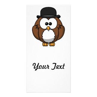 Cartoon Owl in Bowler Hat Card