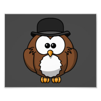 Cartoon Owl in Bowler Hat with Grey Background Photo