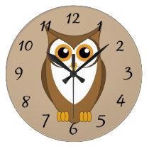 Cartoon Owl Large Clock