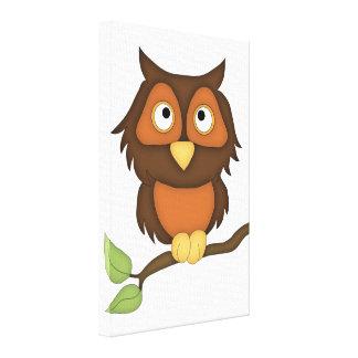 Cartoon Owl (mahogany) Canvas Print