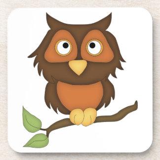 Cartoon Owl (mahogany) Drink Coaster