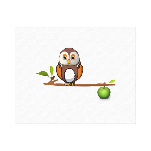 Cartoon Owl on Branch Gallery Wrapped Canvas