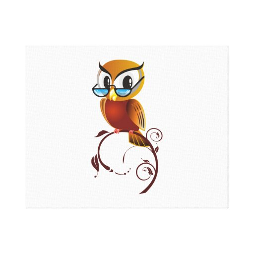 Cartoon Owl on Branch Stretched Canvas Print