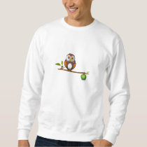Cartoon Owl on Branch Sweatshirt