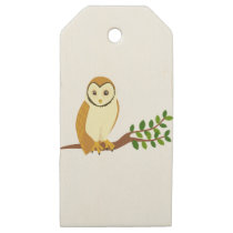 Cartoon Owl On Branch Wooden Gift Tags