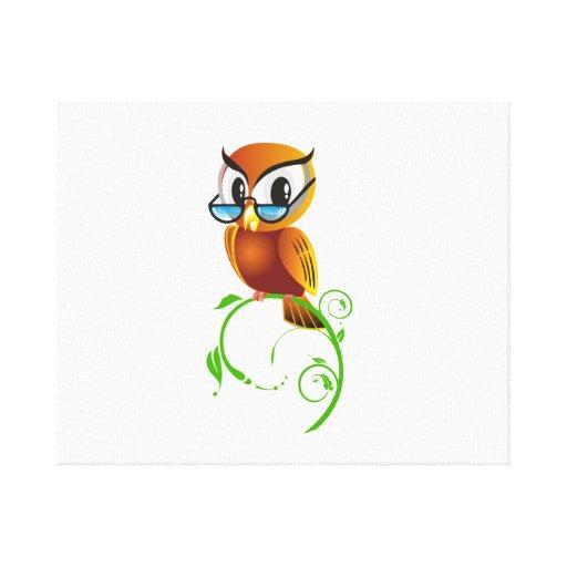 Cartoon Owl on Green Branch Canvas Print