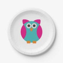 Cartoon Owl Paper Plate