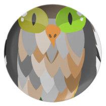 Cartoon Owl Sitting Melamine Plate