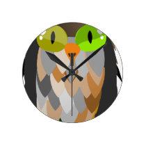 Cartoon Owl Sitting Round Clock
