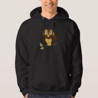 Cartoon Owl (tan) Hooded Sweatshirt