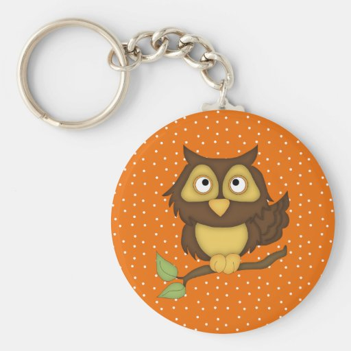 Cartoon Owl (tan) Keychains