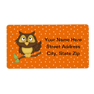 Cartoon Owl (tan) Label