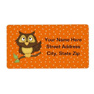 Cartoon Owl (tan) Label