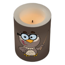 Cartoon Owl Teacher Flameless Candle