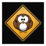 Cartoon Owl Warning Sign Custom Announcements