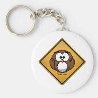 Cartoon Owl Warning Sign Key Chains