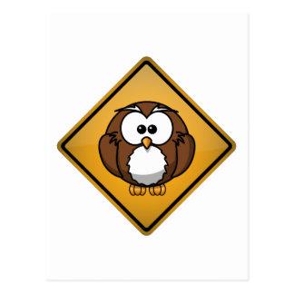Cartoon Owl Warning Sign Postcard