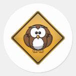 Cartoon Owl Warning Sign Sticker