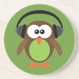 Cartoon Owl With Headphones Beverage Coaster