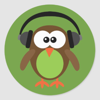 Cartoon Owl With Headphones Classic Round Sticker