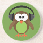 """Cartoon Owl With Headphones Coaster<br><div class=""""desc"""">Customizable green coaster with a cute funky cartoon owl with headphones.  A fun original gift ideal for teenagers &amp; music lovers.</div>"""