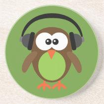 Cartoon Owl With Headphones Coaster