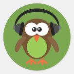 Cartoon Owl With Headphones Stickers