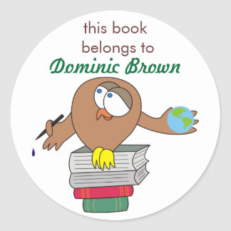 Cartoon Owl with Pen Personalized Book Stickers