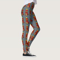 cartoon owl with red hat and winter scarf leggings