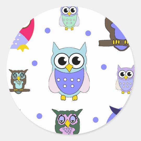 Cartoon Owls and Polka Dots Sticker