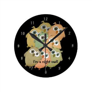 "Cartoon owls ""I'm a night owl!"" wall clock. Round Clocks"