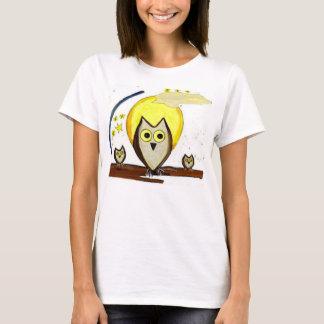 Cartoon Owls in Moonlight T-Shirt