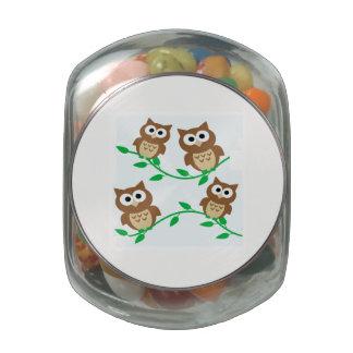 Cartoon Owls Jelly Belly Candy Jar