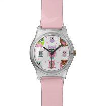 Cartoon Owls Pink Modern Watch