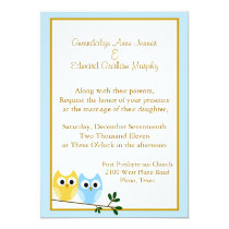 Cartoon Owls Wedding Invitation
