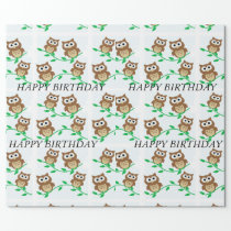 Cartoon Owls Wrapping Paper
