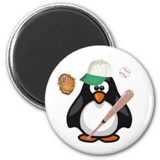 Cartoon Paddy Penguin Baseball Hat Bat Sports 2 Inch Round Magnet