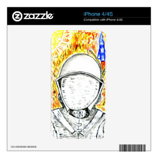Cartoon Painted Astronaut2 iPhone 4S Decal