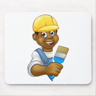 Cartoon Painter and Decorator Man Mouse Pad