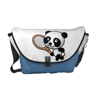 Cartoon Panda Bear and Tennis Racquet Custom Color Courier Bag