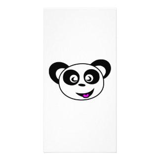 Cartoon Panda Bear Face Photo Card
