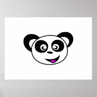 Cartoon Panda Bear Face Poster