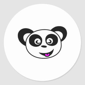 Cartoon Panda Bear Face Round Stickers