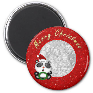 Cartoon Panda Bear Photo Frame Christmas Magnet