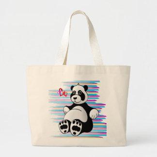 Cartoon Panda Bear Stuffed Animal Large Tote Bag