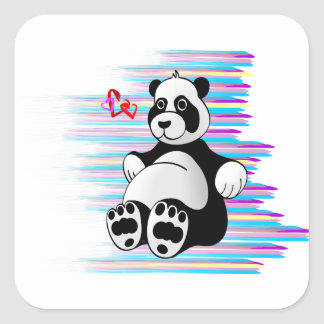 Cartoon Panda Bear Stuffed Animal Square Sticker