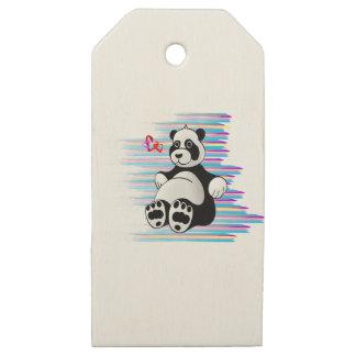 Cartoon Panda Bear Stuffed Animal Wooden Gift Tags