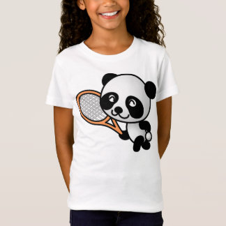 Cartoon Panda Bear Tennis Player T-Shirt