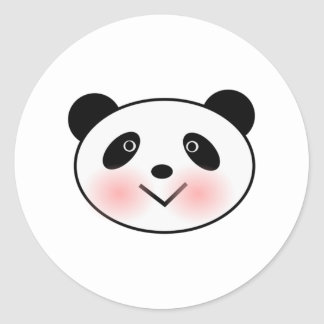 Cartoon Panda Face Round Sticker