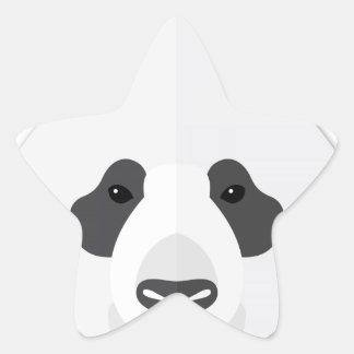 Cartoon Panda Head Star Sticker